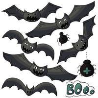elementos de design de halloween em mãos desenham o estilo vetor