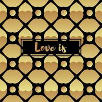 Cartão de convite com coração de ouro vetor