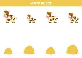 jogo de correspondência para crianças pré-escolares. combinar vacas e pilhas de feno por tamanho. vetor