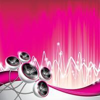 Vector a ilustração em um tema musical com os oradores no fundo abstrato da onda.