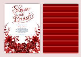 Convite floral do chá de panela do quadro ou cartão de casamento vetor
