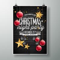 Design de festa de Natal feliz com estrelas de ouro e enfeites vermelhos