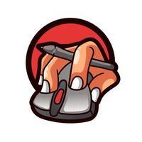 mouse com ilustração de mão logo computador pessoal vetor
