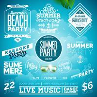 Vector verão praia festa tipografia ilustração definida com sinais e símbolos