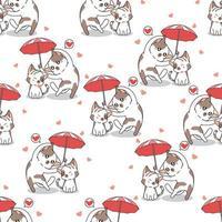 gatos sem costura em padrão de guarda-chuva vetor