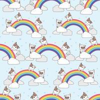 gatos sem costura com padrão de arco-íris vetor