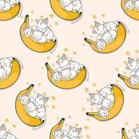 gatos de padrão sem emenda adoram desenho de banana vetor