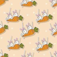 gatos de padrão sem emenda estão comendo desenho de cenoura vetor