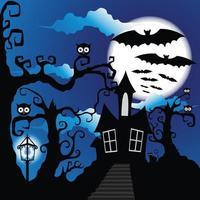 estilo grunge fundo de halloween com morcegos jack o lantern e coruja vetor