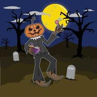 cabeça de abóbora monstro segurando doces feliz dia das bruxas vetor