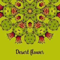 Bandeira com um caleidoscópio das plantas carnudas no desenho da mão do estilo. vetor