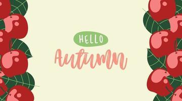 Olá, fundo de banner da web de outono com elemento plano vetor