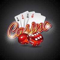 Ilustração vetorial em um tema de cassino com dadinhos e cartas de poker no escuro