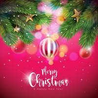 Ilustração de Natal feliz com bolas ornamentais e ramo de pinheiro