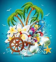Vector verão férias Flyer Design com palmeiras e elementos de transporte.