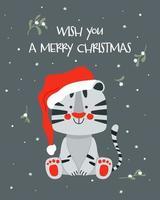 desejo-lhe um cartão de feliz natal com tigre branco fofo, 2022 vetor