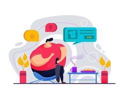 homem gordo está sentado e fazendo compras usando o aplicativo de vendas vetor