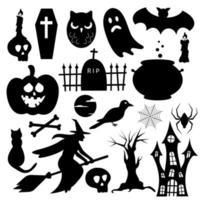 conjunto de elementos de halloween. silhuetas planas simples para decoração de natal vetor