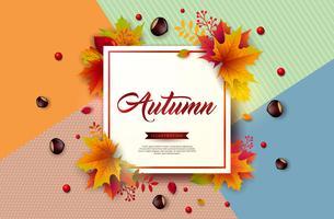 Ilustração de Outono com folhas coloridas, castanha e Lettering