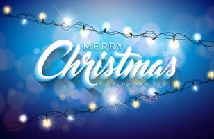 Ilustração de feliz Natal com guirlanda de luz de férias