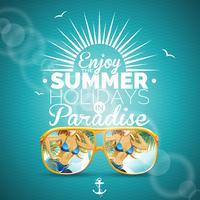 """Vector a ilustração do verão com menina e óculos de sol """"sexy"""" no fundo azul."""