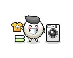 desenho de mascote de bola de arroz com máquina de lavar vetor