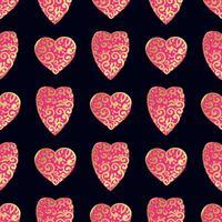 Padrão de ouro sem costura com corações