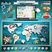 Infográfico de viagens de verão vetor definido com elementos de mapa e férias do mundo.
