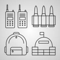 Conjunto de ícones de linha militar isolado em símbolos de contorno branco militar vetor