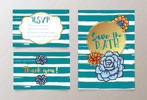 casamentos, salvar o convite da data, RSVP e obrigado vetor