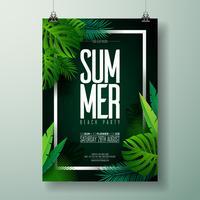 Vector verão praia festa Flyer ilustração com design tipográfico na natureza