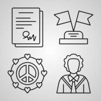 conjunto simples de ícones de linha de vetor de diplomacia