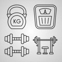 conjunto de ícones de linha de ginásio isolado em contorno branco símbolos ginásio vetor