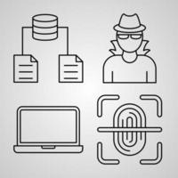 Conjunto de ícones de linha de segurança cibernética de símbolo vetorial em estilo moderno de contorno vetor