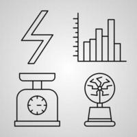 conjunto simples de ícones de linha de vetor de física