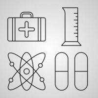 esboço de ícones de química isolados no fundo branco vetor