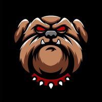 incrível cabeça de bulldog zangado mascote vetor de olhos vermelhos