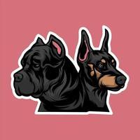 incrível touro cão casal cabeça mascote vetor