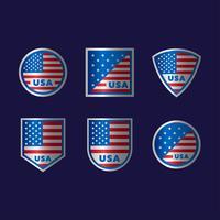 Conjunto de escudo de bandeira americana vetor