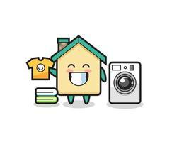 desenho de mascote de casa com máquina de lavar vetor