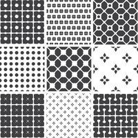 Conjunto de padrões universais sem costura geométricos monocromáticos, lado a lado.