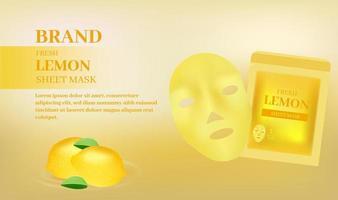 banner de máscara de lençol facial com proteção de limão fresco vetor