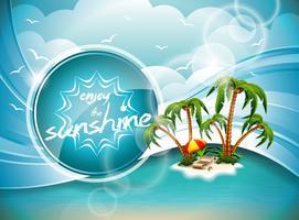 Projeto do inseto das férias de verão do vetor com palmeiras e ilha do paraíso no fundo das nuvens.