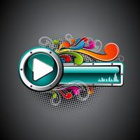 Botão brilhante do jogo do vetor com elementos florais do grunge do colorfull em um fundo escuro.