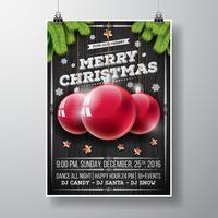 Vector design de festa de Natal feliz com elementos de tipografia de férias e bolas de vidro em fundo de madeira vintage.