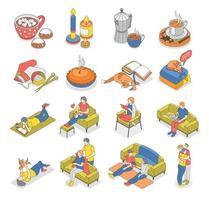 Conjunto de ícones isométricos de estilo de vida Hygge vetor