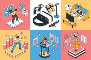 Conjunto de ícones de conceito de realidade virtual vetor
