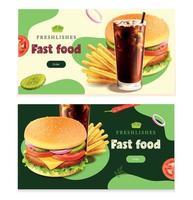 conjunto de banners horizontais de fast food vetor