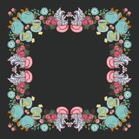 """quadro de grinalda de flor de chá """"tempo para chá"""" vetor"""