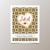 Cartão de convite de casamento com vintage geométrica vetor